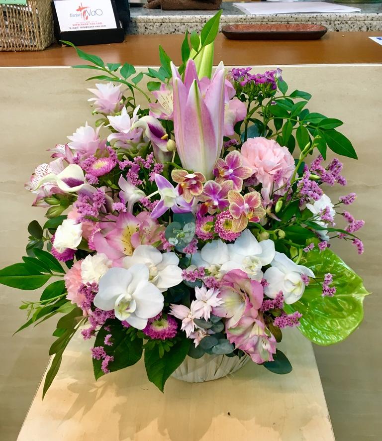 【ナオ花屋の納品事例43】横浜市関内の法人企業様よりアレンジメントを配達しました!