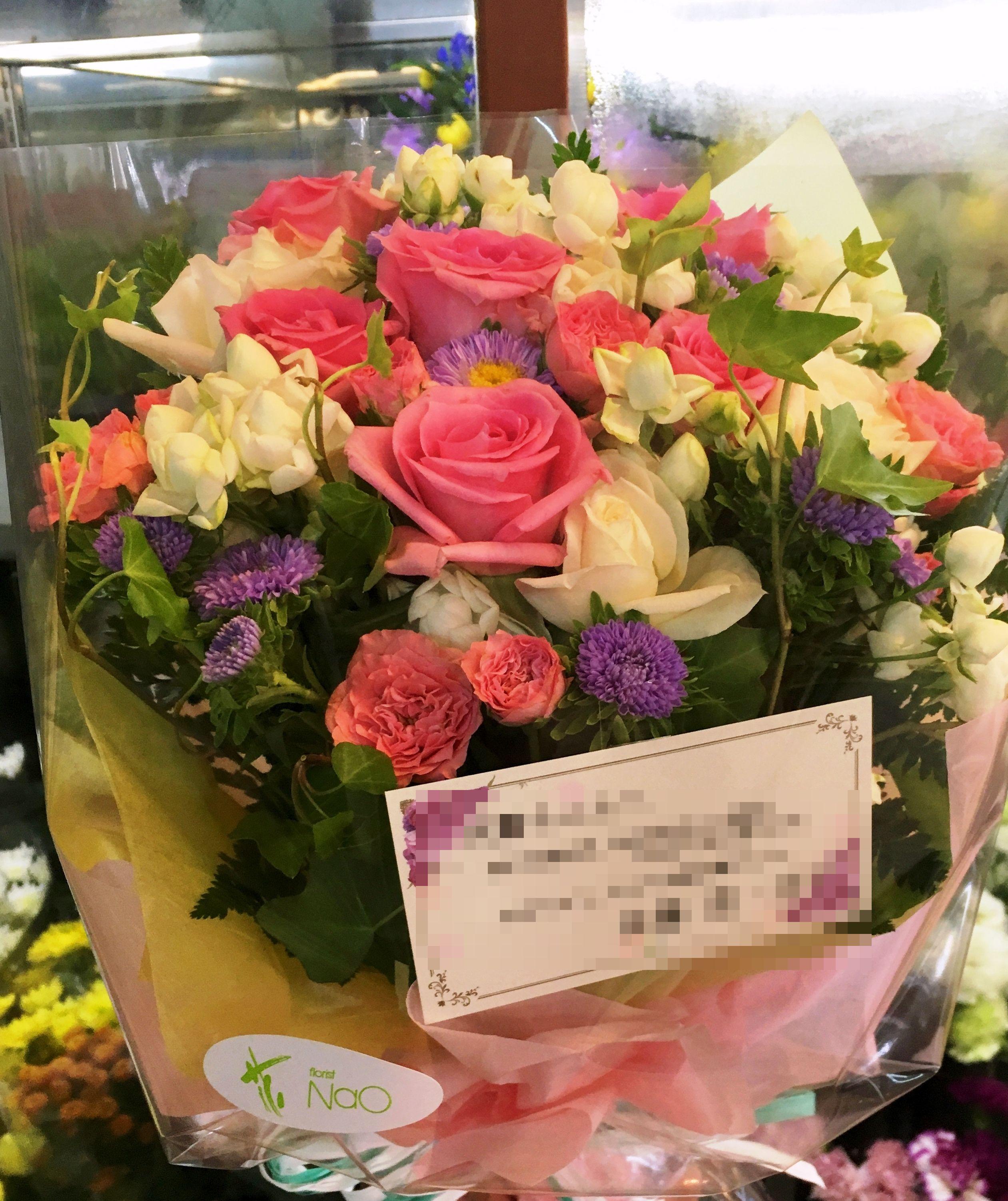 【ナオ花屋の納品事例92】横浜市関内住吉町の法人企業様へ花束を配達しました!