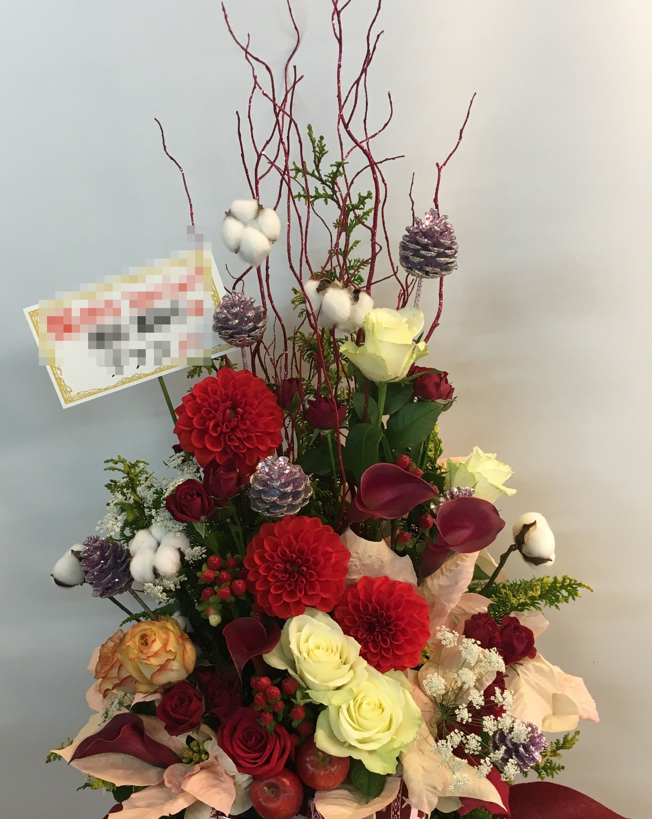 【ナオ花屋の納品事例229】横浜市関内へフラワーアレンジメントを当日・即日配達しました!