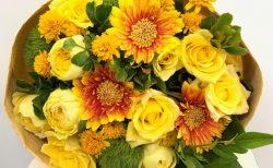 横浜市みなとみらいへ送別用花束を即日当日配達しました!【横浜花屋の花束・スタンド花・胡蝶蘭・バルーン・アレンジメント配達事例461】