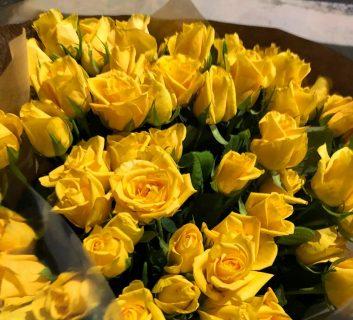 横浜市関内へ黄色バラの花束を即日当日配達しました!【横浜花屋の花束・スタンド花・胡蝶蘭・バルーン・アレンジメント配達事例471】