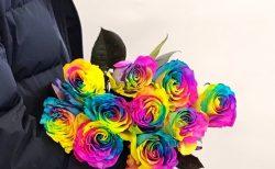 近日商品化!!レインボーローズのご注文をいただきました。【横浜花屋の花束・スタンド花・胡蝶蘭・バルーン・アレンジメント配達事例557】