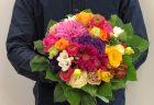横浜市関内地域へブーケ花束を配達しました。【横浜花屋の花束・スタンド花・胡蝶蘭・バルーン・アレンジメント配達事例580】