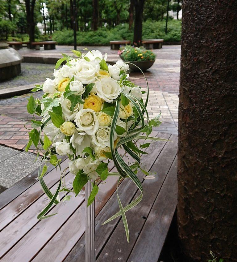 ウエディングブーケの制作をしました。【横浜花屋の花束・スタンド花・胡蝶蘭・バルーン・アレンジメント配達事例708】