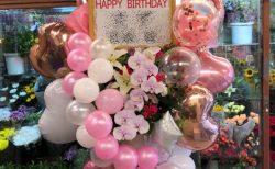 横浜市関内へバルーンスタンド花を即日当日配達しました。【横浜花屋の花束・スタンド花・胡蝶蘭・バルーン・アレンジメント配達事例714】