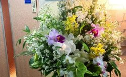 横浜市関内へスタンド花を即日当日配達しました。【横浜花屋の花束・スタンド花・胡蝶蘭・バルーン・アレンジメント配達事例837】