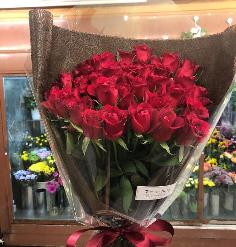 横浜市中区関内へバラの花束を即日当日配達しました。【横浜花屋の花束・スタンド花・胡蝶蘭・バルーン・アレンジメント配達事例861】