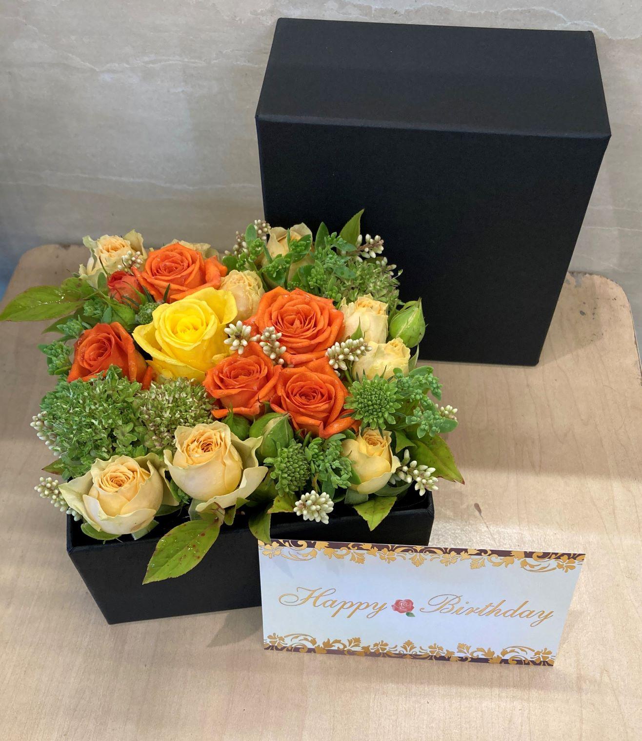 ボックスフラワーを即日当日配送しました。【横浜花屋の花束・スタンド花・胡蝶蘭・バルーン・アレンジメント配達事例907】