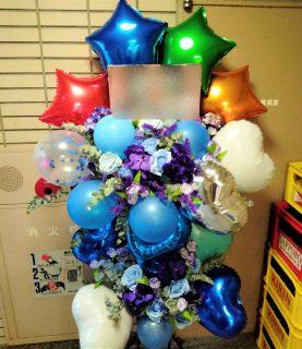 新横浜LiTへオーダーメイドバルーンスタンド花を配達しました。【横浜花屋の花束・スタンド花・胡蝶蘭・バルーン・アレンジメント配達事例898】