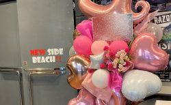新横浜NEW SIDE BEACH!!へバルーンスタンド花を配達しました。【横浜花屋の花束・スタンド花・胡蝶蘭・バルーン・アレンジメント配達事例964】